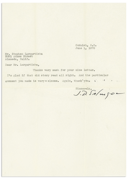 J.D. Salinger Letter Signed -- ''...I'm glad if that old story read all right...''