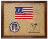 Apollo 16 U.S. Flag Flown to the Moon -- Signed by Crew-Members John Young, Thomas Mattingly and Charles Duke