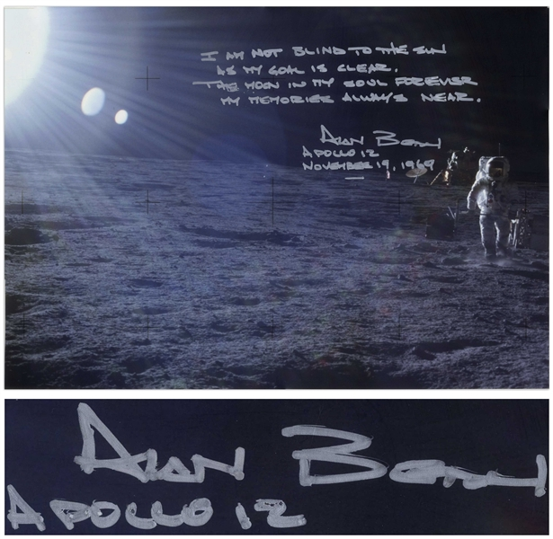 Alan Bean Large 22.5'' x 16'' Photo With a Handwritten Poem by Rudyard Kipling, ''...the moon in my soul forever...''