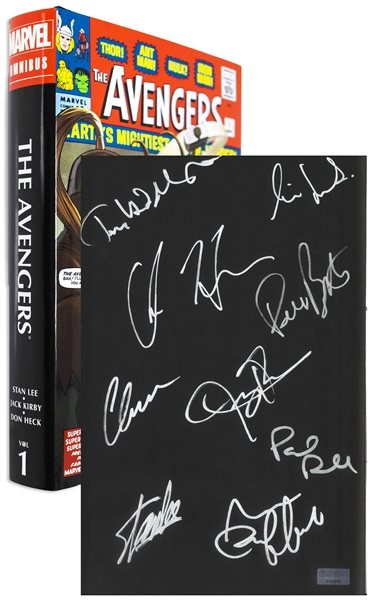 Avengers Creator Stan Lee Signed The Avengers Omnibus Coffee Table Book -- Also Signed by 8 Members of Superhero Squad Including Chris Hemsworth & Chris Evans