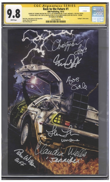 Back to the Future Cast-Signed Comic #1, Graded 9.8 With Powerful Variant Cover -- Signed by 6 Cast Members Including Michael J. Fox and Christopher Lloyd