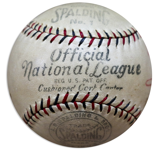 Babe Ruth Single Signed Baseball on the Sweet Spot -- With PSA/DNA COA