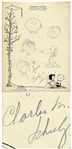 Charles Schulz Drawing of His Peanuts Characters From 1957 -- Includes Charlie Brown, Snoopy, Lucy, Linus & Schroeder