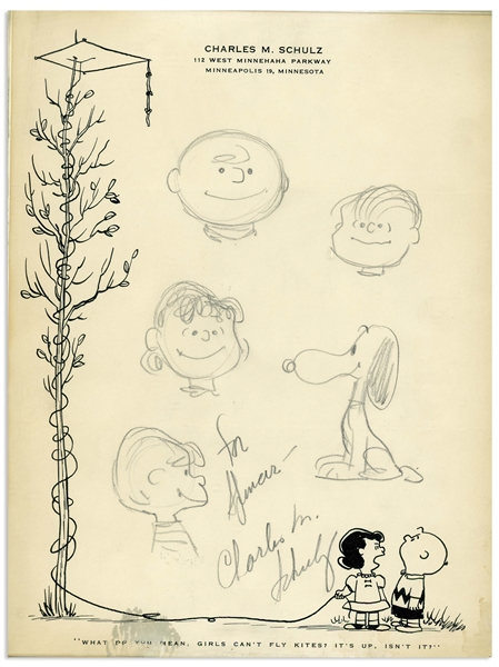 Charles Schulz Drawing of His ''Peanuts'' Characters From 1957 -- Includes Charlie Brown, Snoopy, Lucy, Linus & Schroeder