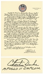 Charlie Duke Signed Handwritten Essay on Serving as Apollo 11 CAPCOM -- ...Neil quickly assumed control, safely missing the crater, but leaving the Eagle with only seconds of fuel!...