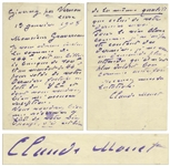 Claude Monet Autograph Letter Signed -- Monet Orders Red Wine From His Wine Merchant But Says the White Isnt as Good Anymore