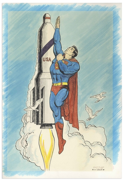 Superman Illustration Hand-Drawn by Curt Swan -- Measures 11.5'' x 16.5''