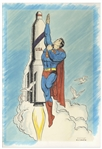 Superman Illustration Hand-Drawn by Curt Swan -- Measures 11.5 x 16.5