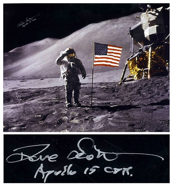 Dave Scott signed 20'' x 16'' Photo of Him Saluting the U.S. Flag on the Moon -- With Novaspace COA