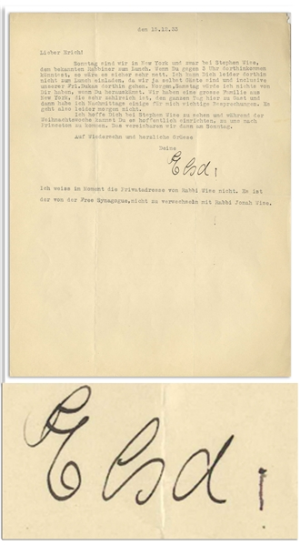Elsa Einstein Letter Signed From 1933, Shortly After She and Albert Einstein Emigrated to the United States