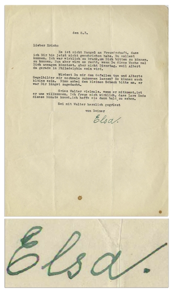 Elsa Einstein Letter Signed -- ''...send me Albert's sailing pictures one more time?...''