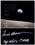 Frank Borman Signed 20 x 16 Photo, With His Thoughts About the Moon: ...its a vast, lonely, forbidding-type existence...
