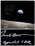 Frank Borman Signed 20 x 16 Photo, With His Thoughts About the Moon: ...each one carries his own impression of what hes seen today...