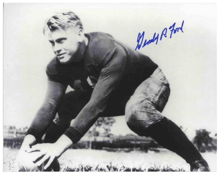 Gerald Ford Signed Photo From His Football Days at the University of Michigan
