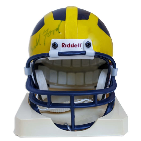 Gerald Ford Signed University of Michigan Miniature Football Helmet