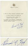 Gerald Ford Manuscript Signed Regarding the Warren Commission -- ...I endorsed those conclusions in 1964 and fully agree now as the sole surviving Commission member...