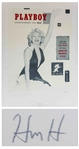 Hugh Hefner Signed Limited Edition Print of the First Issue of Playboy Featuring Marilyn Monroe -- Large Print Measures Over 26 x 35