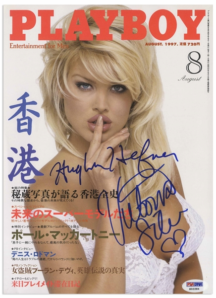 Hugh Hefner Signed ''Playboy'' Magazine -- Also Signed by Playmate of the Year Victoria Silvstedt -- With PSA/DNA COA