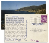 Hunter Thompson Postcard From Big Sur in 1960 -- ...Just spent Xmas & X-eve in hot sulphur baths...
