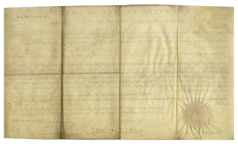 James Monroe Land Grant Signed as President -- With Large, Bold Signature by Monroe