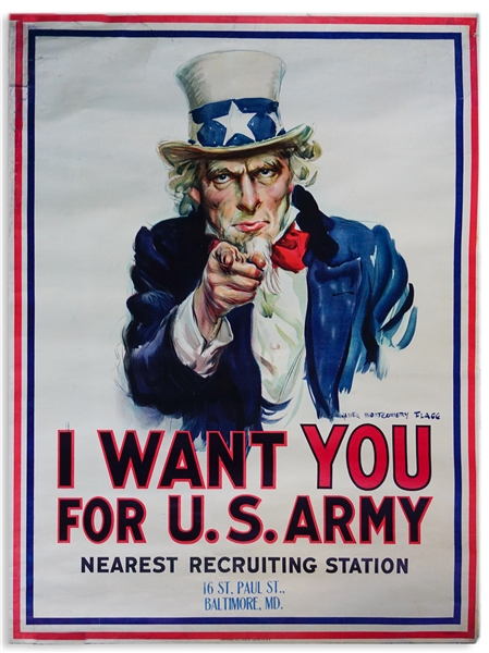 The Most Famous American Artwork, the Original ''I Want You'' World War I Recruitment Poster by James Montgomery Flagg
