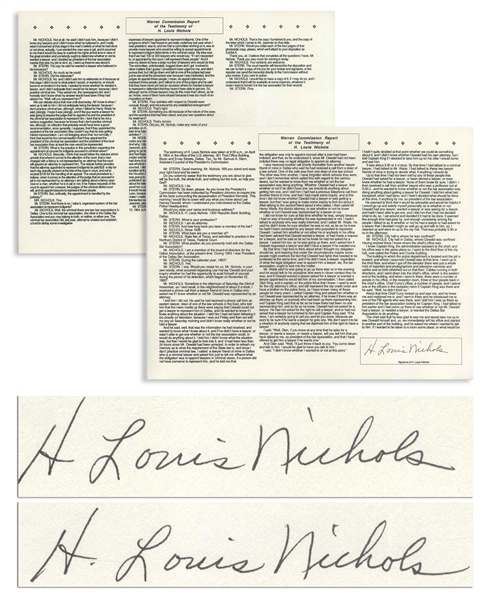H. Louis Nichols Twice-Signed Souvenir Testimony Before the Warren Commission -- Nichols Was the Only Lawyer to Meet With Oswald After President John F. Kennedy's Assassination