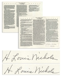 H. Louis Nichols Twice-Signed Souvenir Testimony Before the Warren Commission -- Nichols Was the Only Lawyer to Meet With Oswald After President John F. Kennedys Assassination