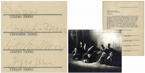 Marx Brothers Signed Agreement Regarding the Stage Production of Animal Crackers -- Signed by Groucho, Harpo, Chico and Zeppo