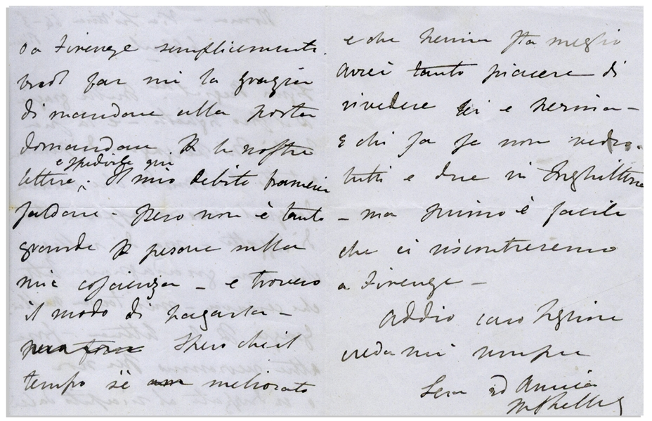 'Frankenstein'' Author Mary Shelley Autograph Letter Signed -- ''...I am pleased that he is not obtaining all he was looking for. He deserved nothing...''