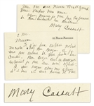 Mary Cassatt Autograph Letter Signed Mentioning Her Collaborator, Edgar Degas -- ...My Degas are in Auvergne...
