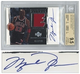 Michael Jordan Signed 2003 Exquisite Patches Card by Upper Deck -- Limited Edition #56 of 100 -- Beckett Graded 9.5 for Card (None Higher) & 10 for Autograph -- With Game-Worn Chicago Bulls Patch
