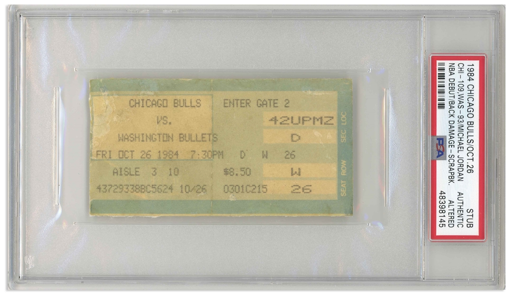 Michael Jordan First Game Ticket From 26 October 1984 -- Scarce Chicago Stadium Issued Ticket to the Bulls Game That Launched Jordan's NBA Career, Slabbed by PSA