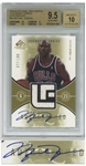 Michael Jordan Signed 2004 Legendary Fabrics Card by SG -- Limited Edition #77 of 100 -- Beckett Graded 9.5 for Card & 10 for Autograph -- With Game-Worn Chicago Bulls Patch