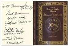 From the Earth to the Moon & Around the Moon Limited Edition Novel Signed by Five Apollo Astronauts: Walt Cunningham, Frank Borman, James McDivitt, Charlie Duke & Fred Haise