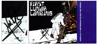 Neil Armstrong Signed First Lunar Landing Booklet -- With Steve Zarelli Space Authentication COA