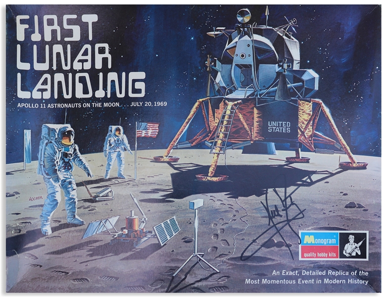 Neil Armstrong Signed ''First Lunar Landing'' Model Kit Box -- With Steve Zarelli Space Authentication COA