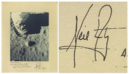 Neil Armstrong Signed Photo Mat of the First Footsteps on the Moon -- Display Measures 16 x 20