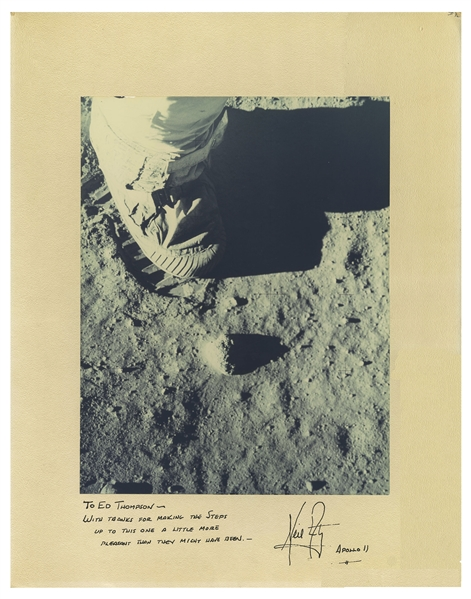 Neil Armstrong Signed Photo Mat of the First Footsteps on the Moon -- Display Measures 16'' x 20''