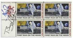 Neil Armstrong and Buzz Aldrin Signed Block of C76 First Man on the Moon Stamps, Issued in 1969 -- With JSA COA