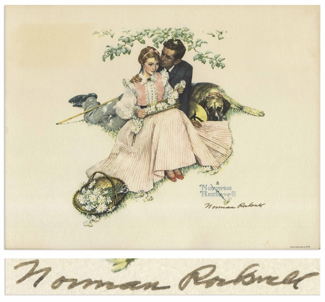 Norman Rockwell Signed Print of ''Flowers in Tender Bloom''