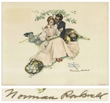 Norman Rockwell Signed Print of Flowers in Tender Bloom