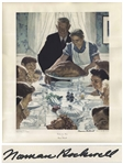 Norman Rockwell Signed Freedom From Want Poster Measuring 28 x 35 -- Rockwell Uses Thanksgiving to Symbolize One of the Four Freedoms