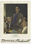 Norman Rockwell Signed Freedom of Speech Poster Measuring 29 x 35 -- Depicting a Man Speaking Freely at a Town Hall