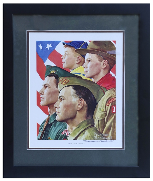 Norman Rockwell Signed Print of ''Growth of a Leader'' Showing the Progression of a Boy Scout from Cub Scout to Scoutmaster