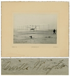 Orville Wright Signed First Flight Photo -- Large Uninscribed Photo Measures 7 x 4.875 on Custom Period Mat Measuring 11 x 9