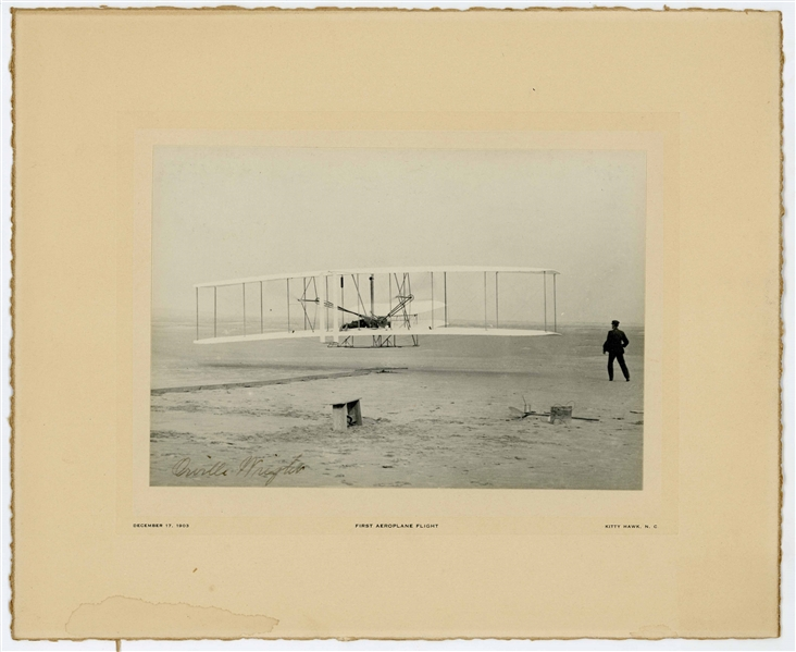 Orville Wright Signed ''First Flight'' Photo -- Large Uninscribed Photo Measures 7'' x 4.875'' on Custom Period Mat Measuring 11'' x 9''