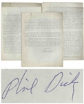 Manuscript Signed by Philip K. Dick on How to Write a Novel -- Unpublished 5pp. Manuscript by Dick Outlines This is how I write a book