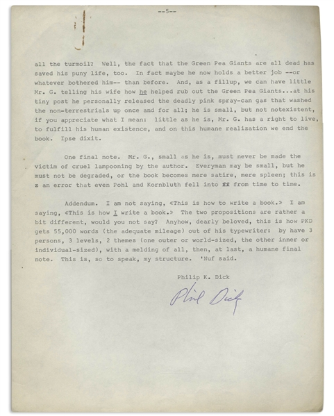 Manuscript Signed by Philip K. Dick on How to Write a Novel -- Unpublished 5pp. Manuscript by Dick Outlines ''This is how I write a book''