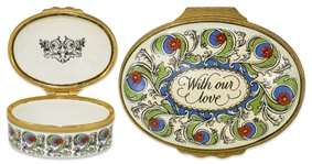 Ronald & Nancy Reagan Personally Owned Pillbox -- With our love