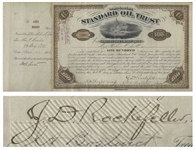 John D. Rockefeller Signed Stock Certificate for Standard Oil Trust -- Signed by Rockefeller as President in 1883